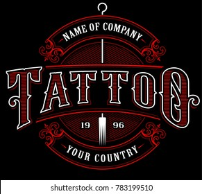 Vintage tattoo lettering illustration. Tattoo design, logo template, shirt graphic. Text is on the separate layer. (VERSION FOR DARK BACKGROUND)