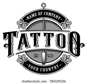 Vintage tattoo lettering illustration. Tattoo design, logo template, shirt graphic. Text is on the separate layer. (VERSION FOR WHITE BACKGROUND)