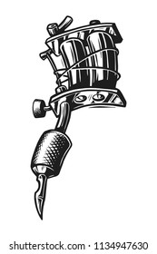 Vintage tattoo machine concept in monochrome style isolated vector illustration