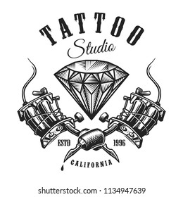 Vintage tattoo monochrome label with diamond and crossed tattoo machines isolated vector illustration
