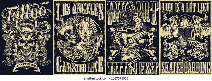 Vintage tattoo monochrome posters set with inscriptions snake entwined with skull crossbones skull in samurai helmet chicano girls and skeleton hands holding skateboard vector illustration
