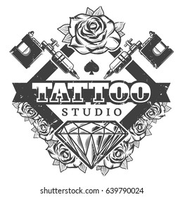 Vintage tattoo salon logotype template with lettering machines flowers and diamond in monochrome style isolated vector illustration