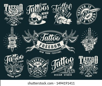 Vintage tattoo salon prints with hand holding tattoo machine military and pocket knives skull pierced with dagger anchor rose flying swallows holding ribbon isolated vector illustration