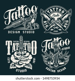 Vintage tattoo studio badges with professional tattoo machine crossed knives ship anchor flying swallows rose pierced with dagger isolated vector illustration