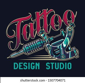 Vintage tattoo studio colorful print with professional tattoo machine on dark background isolated vector illustration