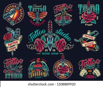 Vintage tattoo studio colorful prints with straight razors butterfly roses anchor daggers tattoo machines swallors fiery heart in barbed wire with angel wings isolated vector illustration