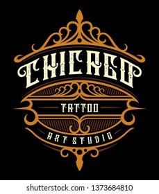 Vintage tattoo studio emblem. Tattoo lettering, logo template