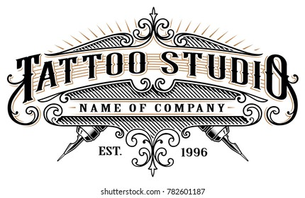 Vintage tattoo studio emblem. Tattoo lettering, logo template, shirt graphic. Text is on the separate layer. (version for white background)