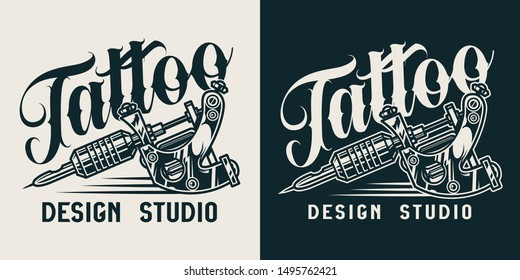 Vintage tattoo studio monochrome logo with professional tattoo machine isolated vector illustration