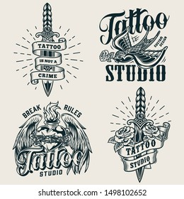 Vintage tattoo studio monochrome logos with daggers flying swallow holding rose in beak fiery heart in barbed wire with angel wings isolated vector illustration