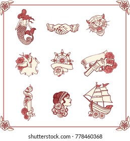 Vintage tattoos in classic old school style. New traditional tattoo style. Hand-drawn images. Nautical symbols .