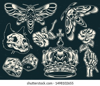 Vintage tattoos collection with cat skull skeleton hand holding blooming rose dices crown spooky bee and wasp on dark background isolated vector illustration
