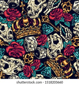 Vintage tattoos colorful seamless pattern with dice golden antique key cat skull ornate royal crown diamond skeleton hand holding rose vector illustration