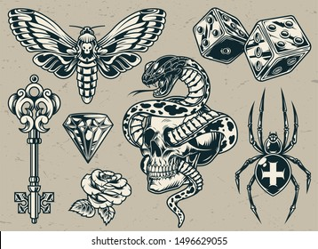 Vintage tattoos set with medieval key dices cross spider butterfly diamond rose flower snake entwined with skull in monochrome style isolated vector illustration