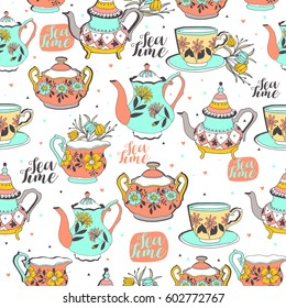 Vintage tea background seamless pattern for design