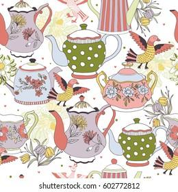 Vintage tea background seamless pattern for design