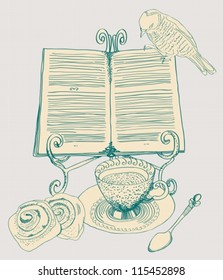 vintage tea background, set for breakfast with book, illustration, vector
