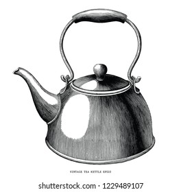 Vintage tea kettle hand draw engraving illustration black and white isolated on white background