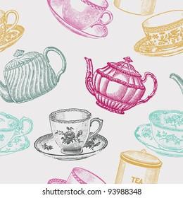 vintage tea porcelain. seamless pattern