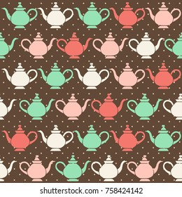 Vintage tea pots, vector seamless pattern.