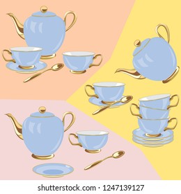 Vintage tea set on the pastel color background. Flat simple style vector illustration.