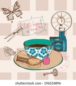 Vintage tea time background. Illustration for design, VECTOR