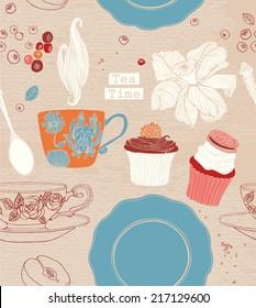 Vintage tea time Poster. Vector illustration. Including tea, flower, cupcake and fruits.
