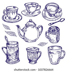 Vintage Teapot with cups and mugs with hot tea ink drawing outline hand drawn  sketch line art doodle vector illustration collection set for coloring book page