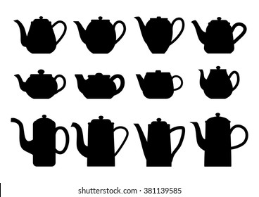 Vintage teapots. Teapots silhouettes of various shapes. Vector illustration.