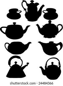 vintage teapots-vector