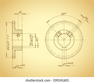 vintage technical drawing / vector illustration