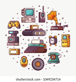 Vintage technology, things and objects. Flea market or antiques shop card with line icons stylized in circle. Old rarity elements for entertainment and abstract retro tech devices concept banner.