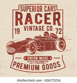 vintage tee print design with car drawing and typo