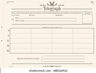 Vintage telegraph form. Flat vector for further editing.