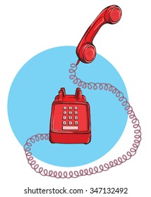 Vintage Telephone No.9, handset up. Illustration is in eps10 vector mode.