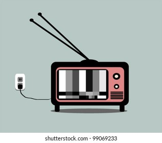 vintage television with antenna and test pattern
