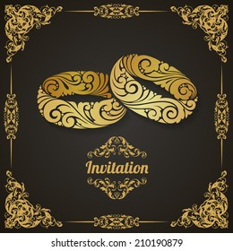 Vintage template with decorative frame and couple of ornamental rings. Wedding  invitation