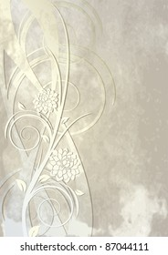 Vintage template for greeting card or background with flowers and swirls