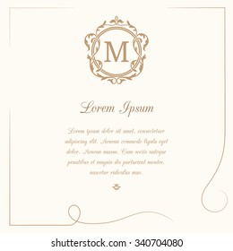 Vintage template with monogram and calligraphic frame. Wedding invitation. Can be used for greeting cards, invitations, menus, labels.