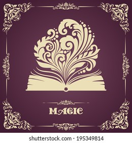 Vintage template with ornament and opened magic book