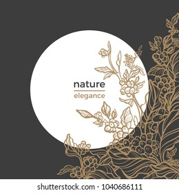 Vintage template of realistic coffee branch with leaf and natural bean. Sketch retro style. Night, moon, garden, bloom. Graphic, art deco, organic food. Vector floral illustration in frame of circle