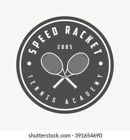 Vintage tennis logo, badge, emblem and much more. Vector Illustration