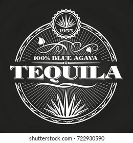 Vintage tequila banner design on chalkboard. Poster alcohol, vector illustration