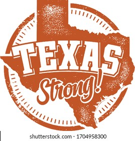 Vintage Texas Strong Rubber Stamp Vector