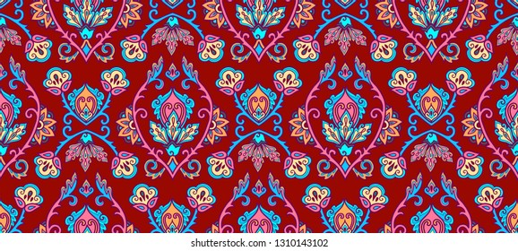 Vintage textile and wall traditional Turkish floral colorful ornament on purple background, vector seamless pattern tile