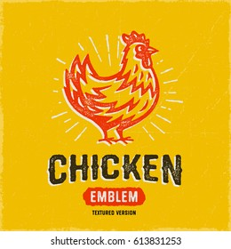 Vintage Textured Chicken Emblem Logo Icon with Yummy colors and Appetizing Look. Great for Food Packaging, Restaurants, Grill, BBQ, Butchery etc. Retro Hen Vector Illustration