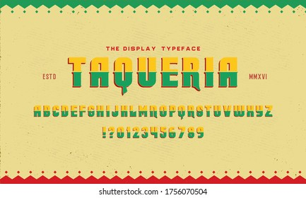 Vintage textured font with a Mexican flavor. Font for the menu of restaurants, eateries, etc.