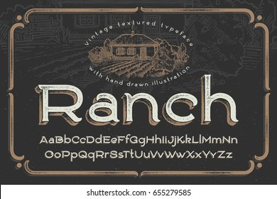 "Vintage textured font named ""Ranch"" with hand drawn graphic illustration"