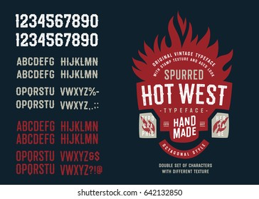"""Vintage Textured Spurred Octagonal Sans Serif Typeface """"Hot West"""". Double Set of Letters and Numbers with Different Texture."""