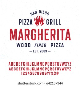 """Vintage Textured Typeface """"Margherita"""" And Sample Typographic Emblem Logo Design. Double set of Characters with Different Texture. Fire Vector Illustration."""